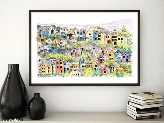 $4.90 San Francisco victorian houses, printable architectural sketch, San Francisco art, architectural print, colorful art, printable art. arq 006