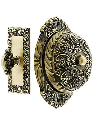 floral design mechanical door bell in solid brass. just perfect brings back memories of a dear friend
