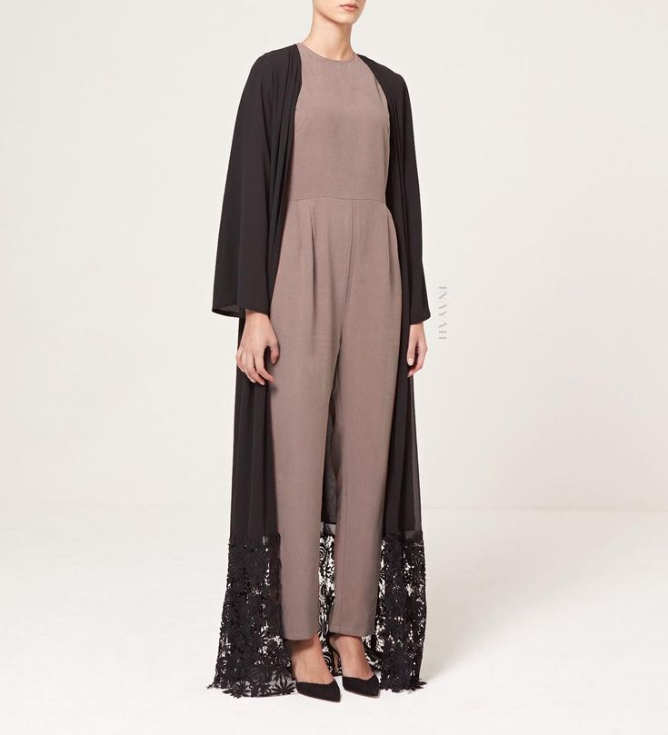 INAYAH | Style, comfort and breathability.  Pebble Linen Blend Jumpsuit  Black Georgette Kimono with Lace Hem  www.inayah.co