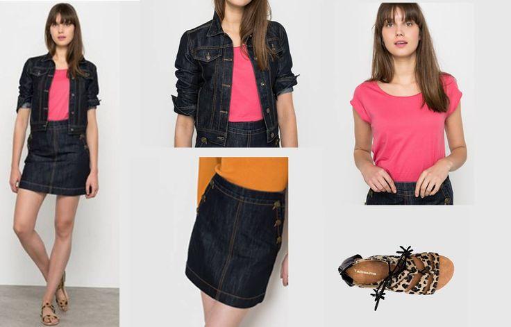 Your #denim #outfit from @laredoute. Jacket: http://mikk.ro/UW5 Μπλούζα: http://mikk.ro/UW6 Φούστα: http://mikk.ro/UW7 Πέδιλα: http://mikk.ro/UW8