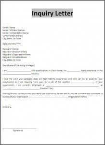 inquiry price letter sample