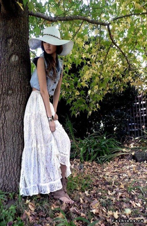 Макси юбка / с чем носят длинные юбки