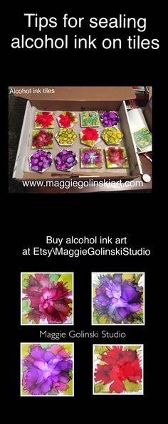 Tips on sealing alcohol ink tiles, including spray sealers and resins.