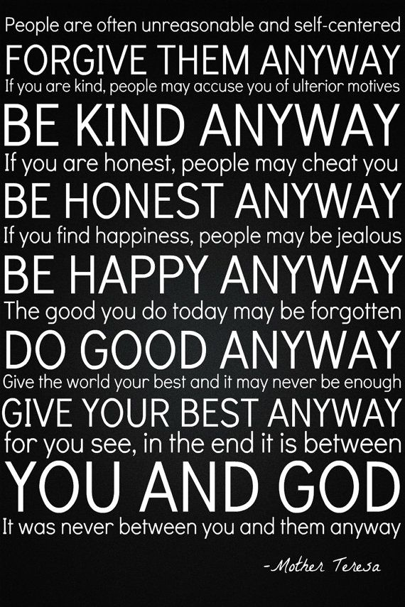 Do It Anyway Mother Teresa Quote 24 X36 Subway Style Typography