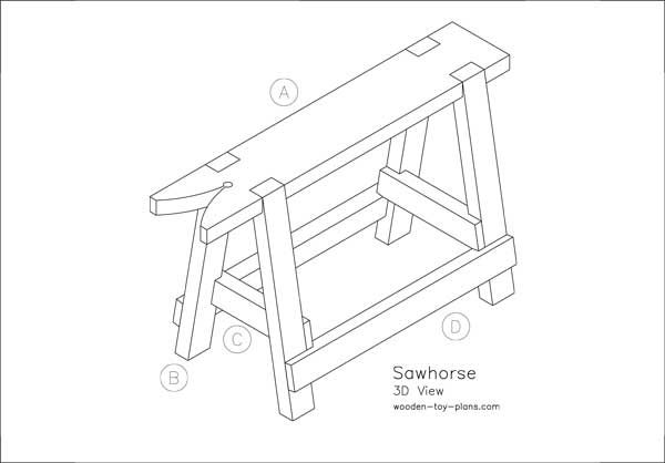 Strong sturdy sawhorse design every woodshop should have one. Print ready PDF plans free to download.