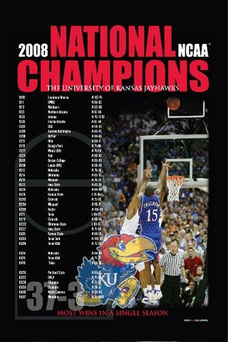 Kansas Jayhawks KU 2008 NCAA National Champions Schedule Print Poster