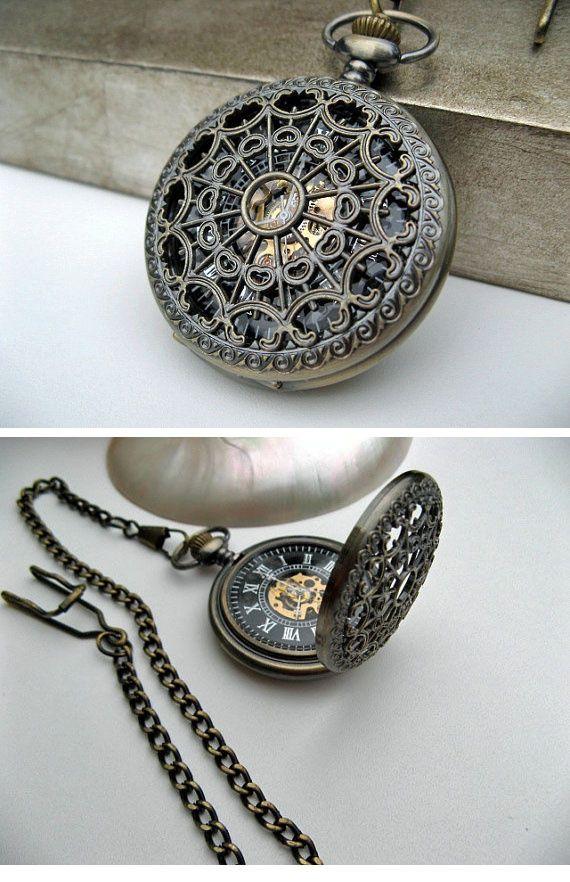 Antique Bronze Pocket Watch - 1882's Steampunk Mechanical Pocket Watch with Pocket Watch Chain ( etsy :: www.etsy.com/... )
