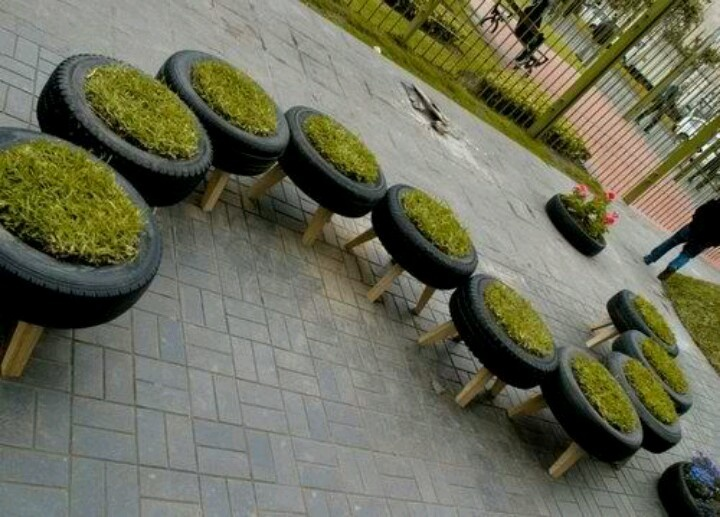 grass tire bench terraza pinterest benches and grasses