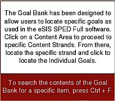 IEP Goals and Objectives Bank: The Goal Bank has been designed to allow users to locate specific goals as used in the eSIS SPED Full software. Click on a Content Area to proceed to specific Content Strands. From there, locate the specific strand and click to locate the Individual Goals. This can help you get an idea of the sorts of goals and objectives that often appear on an IEP and help you find areas where your child's IEP may be lacking.: Idea
