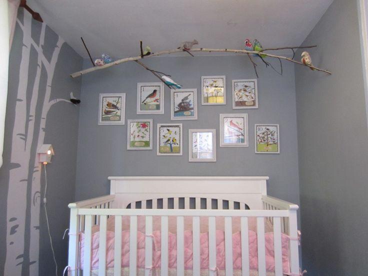 Bird woodland themed nursery with a feminine touch.