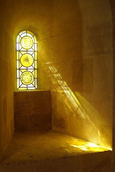 Yellow Stained Glass Window.