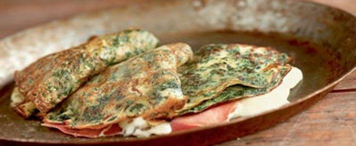 Grønne skinkecrêps