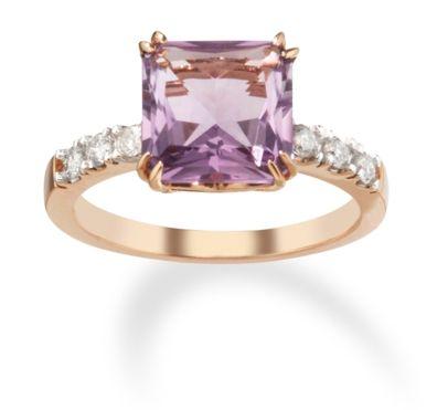 14k Rose Gold Diamond and Pink Amethyst Wedding Ring only $398.00 - Gemstone Rings