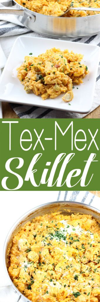 An easy dinner made all in one skillet. This Tex-Mex Skillet is loaded with chicken, rice, all the spices, and queso cheese! | EverdayMadeFresh.com https://www.everydaymadefresh.com/tex-mex-skillet/