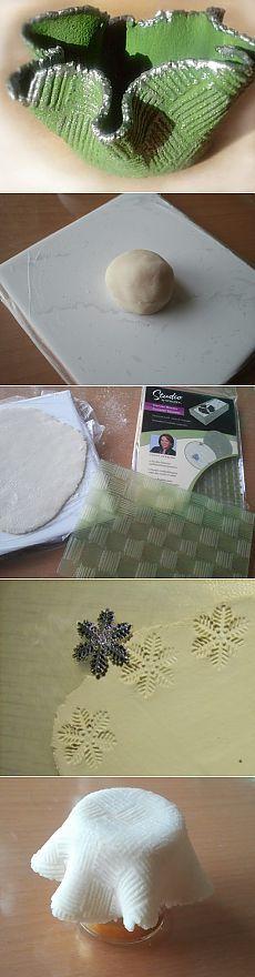 castiçais de Natal da massa de pão de sal - simples e baratos, bem como espaço para decoupage - Mestrado Feira - artesanal, feito à mão
