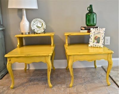 should I just try to paint my retro end tables?: Ideas, Side Tables, Painted Furniture, Color, Painted End Tables, Living Room, Yellow Table