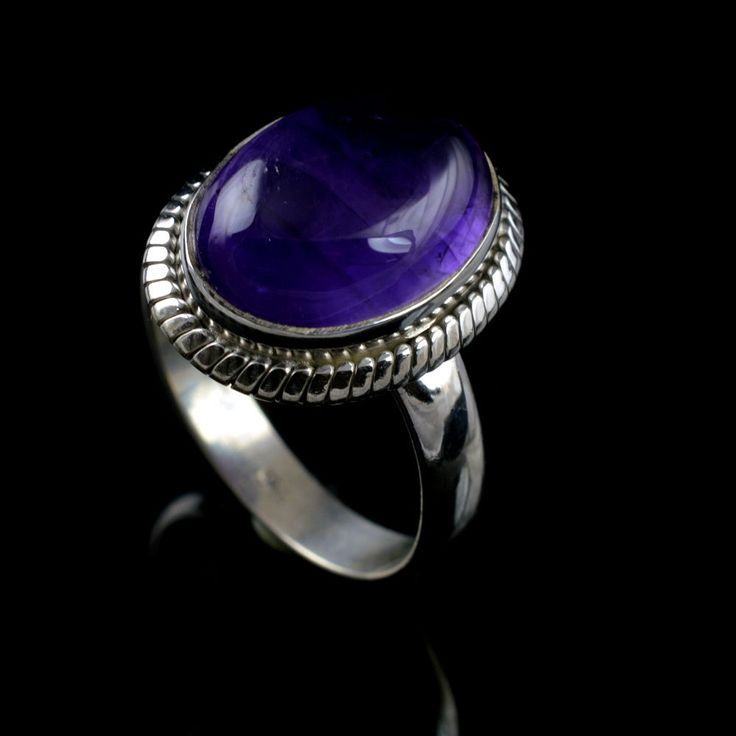 925 Sterling Silver Natural Amethyst Gemstone Handmade Mens Ring Size 9 US #Handmade #Cluster #Party