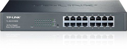BUY NOW TP-LINK TL-SG1016DE 16-Port Gigabit Easy Smart Switch with 16 10/100/1000 Mbps RJ45 Ports, MTU/Port/Tag-Based VLAN, QoS and IGMP TP-LINK Technologies