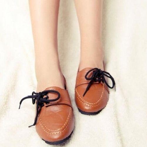 Zapatos de mujer - Tacón Plano - Comfort / Punta Redonda - Mocasines -  Casual - Semicuero - Negro / Marrón