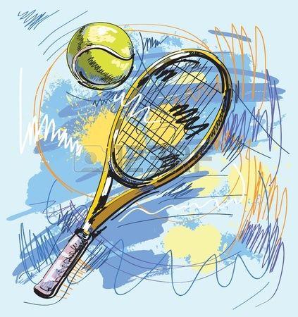 Ilustraci n vectorial raqueta de tenis y pelota Foto de archivo
