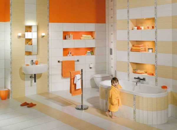 white and orange bathroom tiles