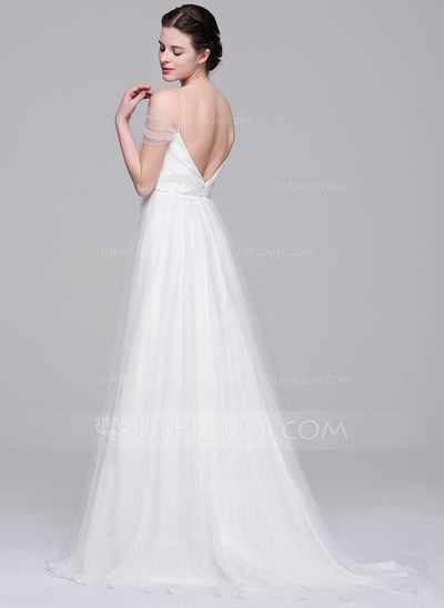 A-Line/Princess Off-the-Shoulder Sweep Train Tulle Wedding Dress With Ruffle Beading Sequins (002071604)