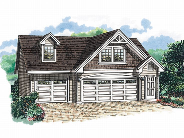 3 bay garage with apartment plans plan 032g 0004 find for Cool house plans garage