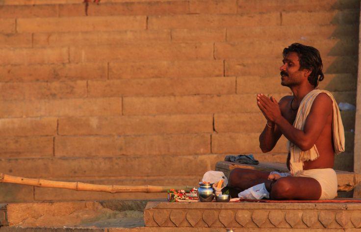 Morning Rituals on the River Ganges. Varansi - India