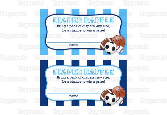 all star sports theme baby shower diaper raffle tickets  u0026 sign