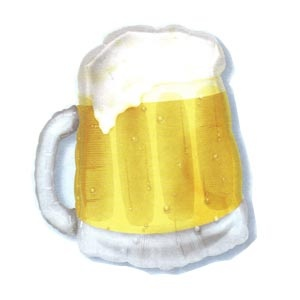 """SuperShape Mylar Balloon Beer Mug (see thru) 20""""w x 23""""hEmpty Price.  The beer mug SuperShape mylar balloon is a great decoration for your St. Patricks Day or Oktoberfest parties."""