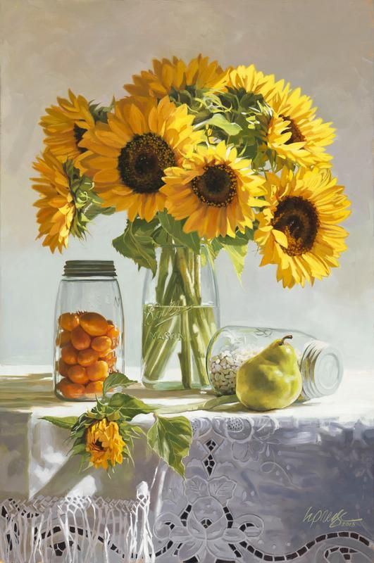 Heide Presse oil painting Sunflowers Still Life  floral art