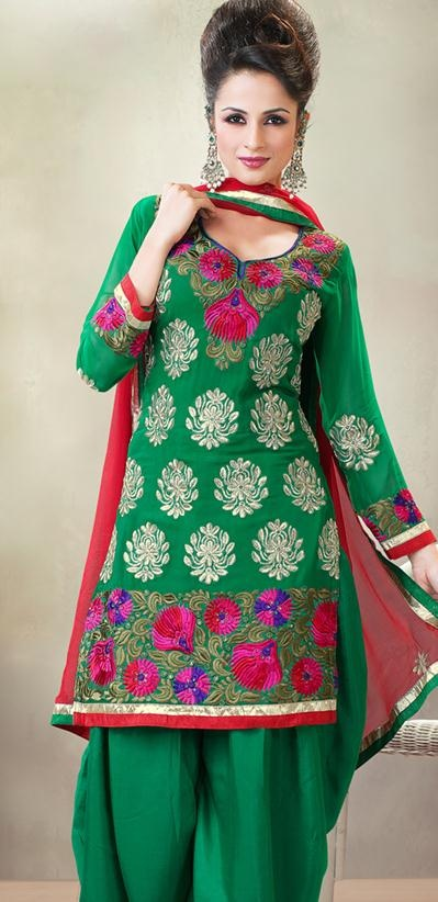 Green Full Sleeve Cotton Knee Length Salwar Kameez 21002 | Bridal lehenga choli, Salwar kameez ...