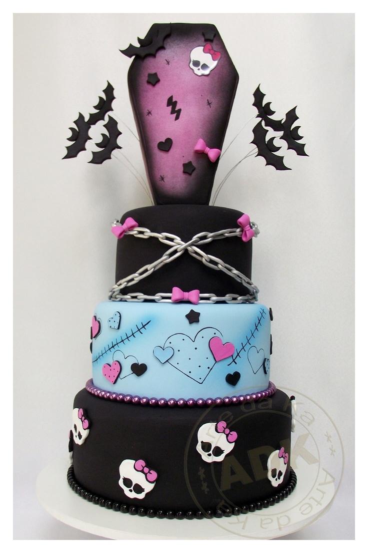 Vampire Skull Birthday Cake ~ Monster Tiered Cake