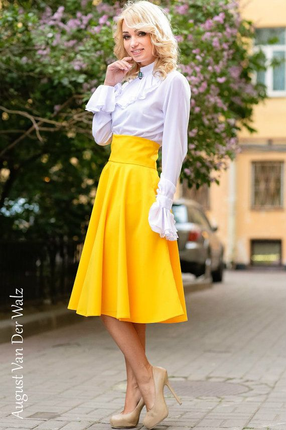 Yellow Maxi Skirt Skirt with Pocket circle by AugustVanDerWalz