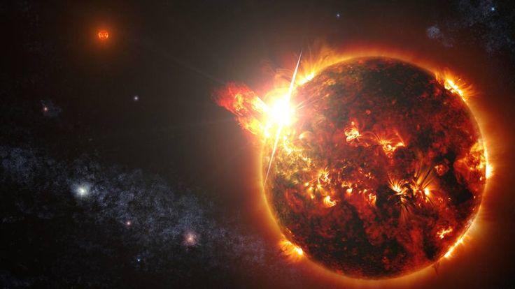 La più intensa e lunga sequenza di un'eruzione stellare è stata ripresa il 23 aprile dal satellite Swift su una stella nana rossa. Il brillamento iniziale era 10 mila volte più potente del più grande mai registrato sul nostro Sole (Olycom)