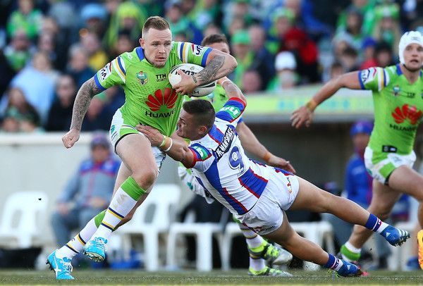 Blake Austin of the Canberra Raiders makes a line break during the round 17 NRL match between the Canberra Raiders and the Newcastle Knights at GIO Stadium on July 3, 2016 in Canberra, Australia.