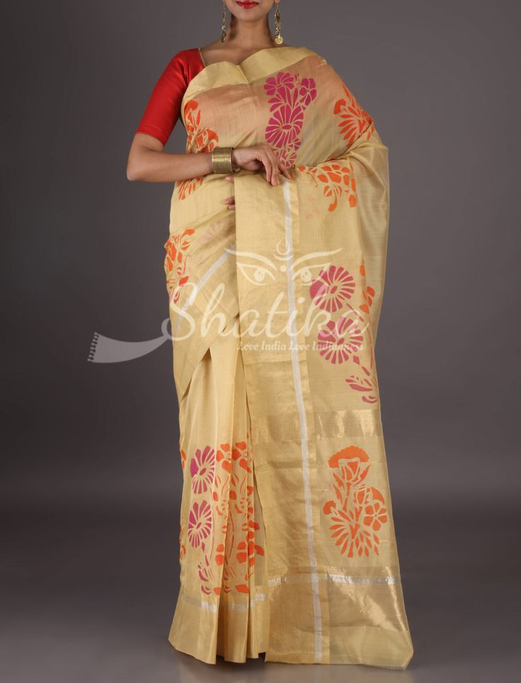 Leena Cream With Gold Border Colorful Flowers Chanderi Block Printed Saree