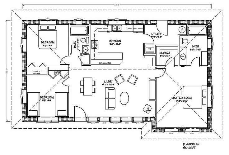 Eco Family 1600 Plan - 3 Bed, 2 Bath, 1,617 sq. ft., 1 storey - Notes: Could be built modularly