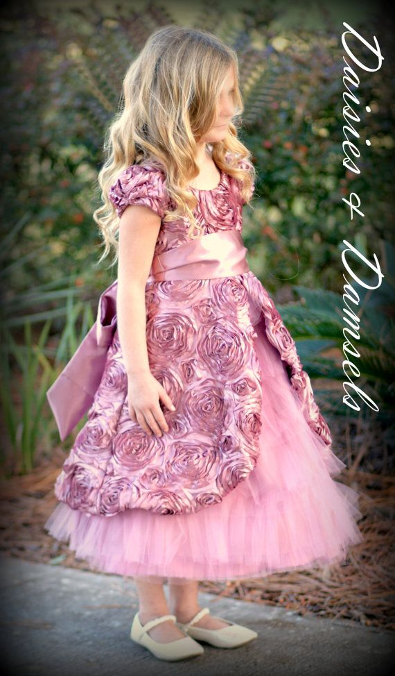 Flower girl dress rose pink mauve satin roses by DaisiesandDamsels, $249.99