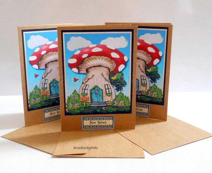 Housewarming Card - New Home  - Greeting Card   - Fairy Mushroom House