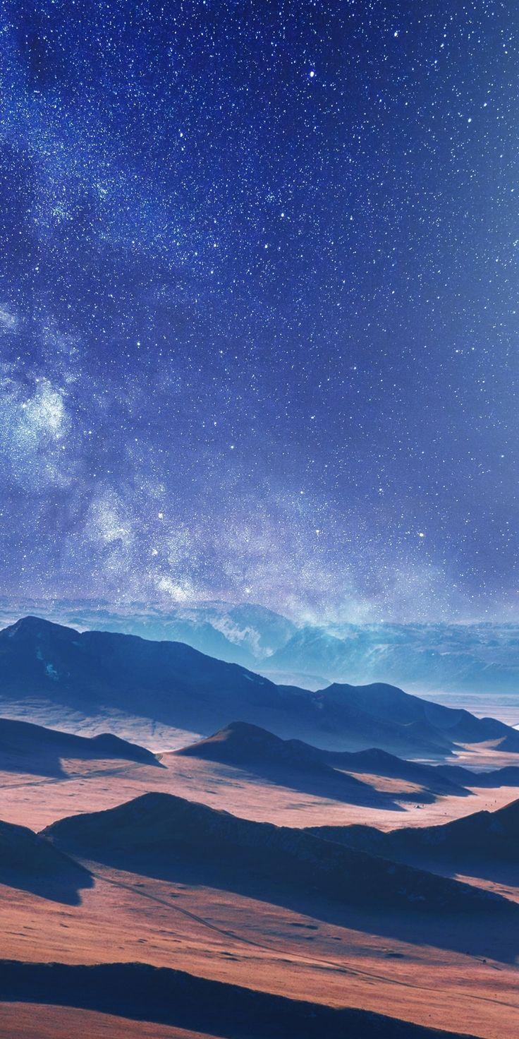1080×2160 Moon, desert, milky way, landscape wallpaper