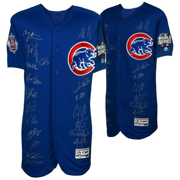 Chicago Cubs Fanatics Authentic 2016 MLB World Series Champions Team Signed Majestic Blue Authentic World Series Jersey with 20 Signatures - Limited Edition of 75 - $3999.99