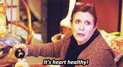 Carrie Fisher guest starred in an outstanding 30 Rock episode. This was her response when she gets called out for drinking wine out of a thermos.
