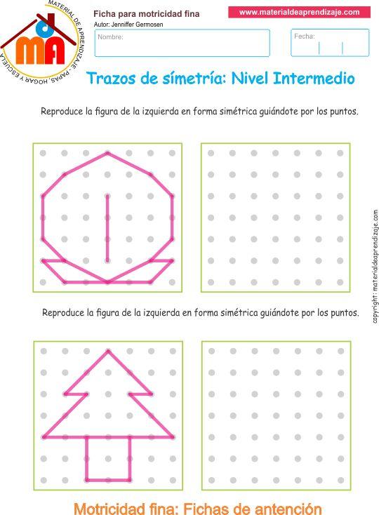 Ejercicio01 nivel intermedio: Actividadesescolares de trazos de simetría paradesarrollar la memoria y la atencióncon los niños.