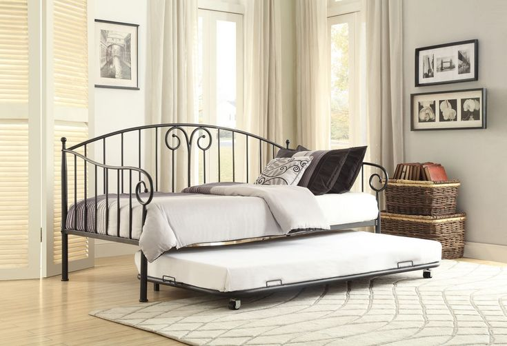 Home Elegance Courtney Metal Daybed with Trundle 4960DB-NT