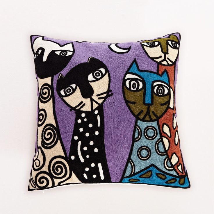 Embroidered night cats cotton throw pillow products
