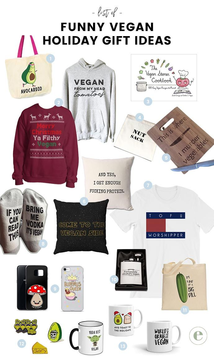 Hilariously Clever Funny Vegan Gift Ideas For The Holidays Vegan Gifts Funny Vegan Gifts Vegan Christmas Gifts