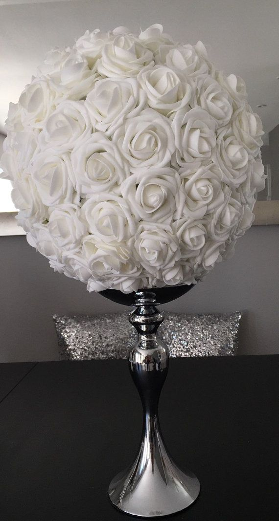Silver Flower Ball Stand OR Candle Holder Wedding by KimeeKouture