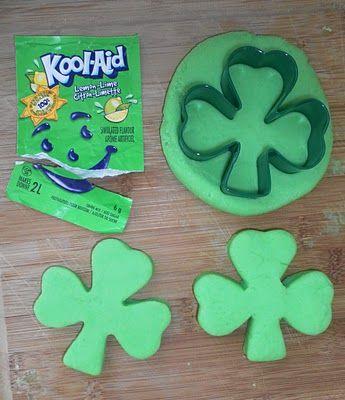 St. Patrick's Day Kool-aid Playdough.