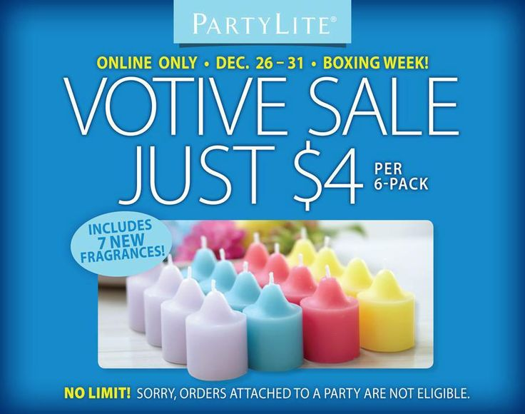 votive sale just $4 per dozen... where else do you get deals like that order on line delivery right to your door less then 10 days... www.partylite.biz/elegancebymarta